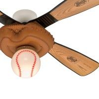 """56"""" Low Profile Decorative Baseball Mit Youth Ceiling Fan Blades and Finish- Wobble Free. This 56"""" Leather Look Finish fan delivers a powerful cooling air flow to any size indoor room with its 3 Speed WhisperWind® motorYouth Style Fans Brings Cool and Fun Designs To Any Type of Room4 Baseball Bat Pine/Aluminum Reversible BladesEquipped with AVT Hanging System3"""" Downrod Included This ceiling fan was originally returned to Hunter Fans for reasons like buyer's remorse, damaged box&comma…"""