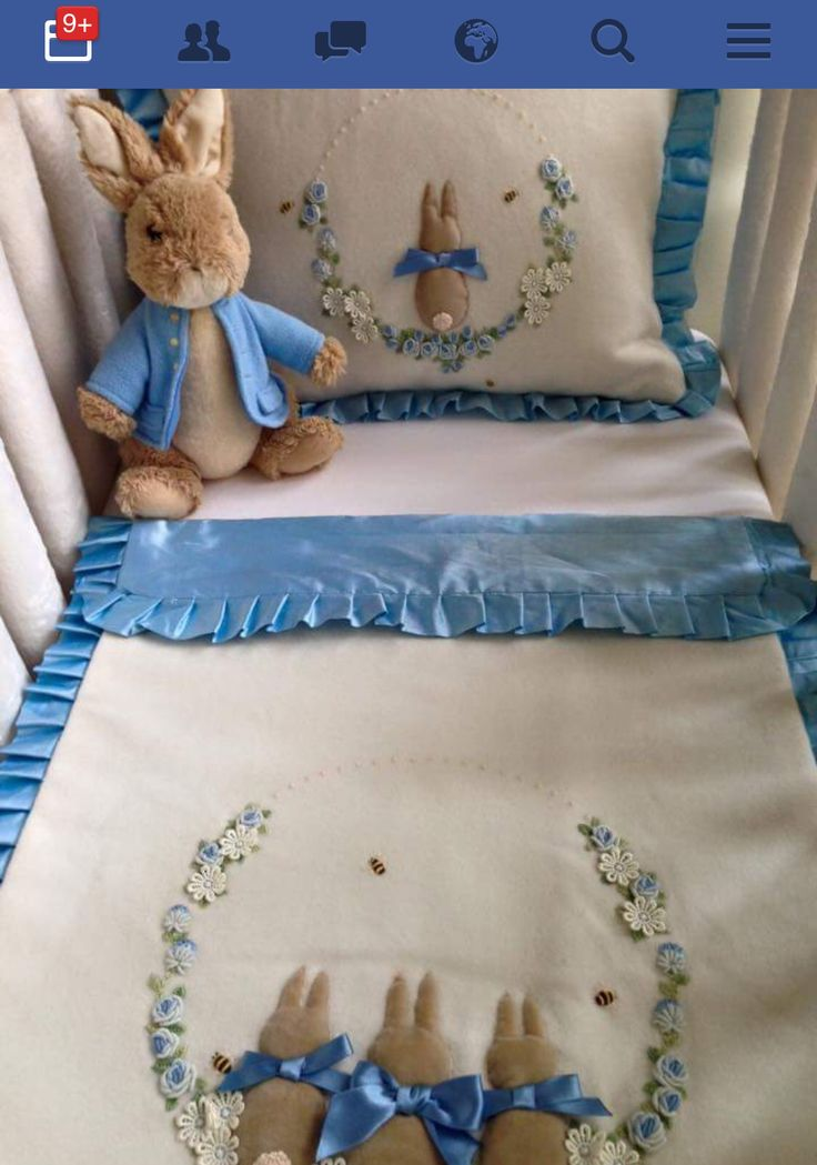 Hand embroidered Peter Rabbit Crib nursery set with bullion roses and bunnies. By Beverley Welch
