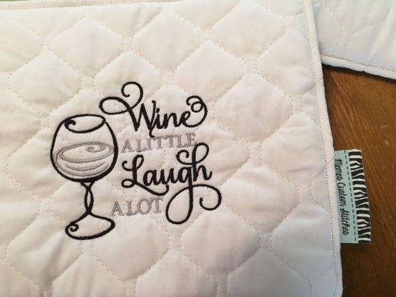 Custom Embroidered Quilted Pot Holder Wine Alittle Laugh Alot Monogram Initials Custom Items Hanging Towels