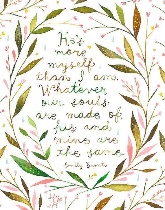 His and Mine art print Emily Brontë Quote por thewheatfield