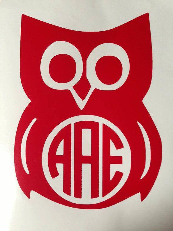 Owl Circle Monogram Car Decal Interlocking Initial Vinyl