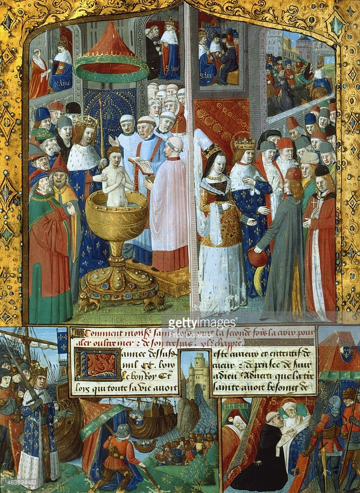 Scenes from the life of Louis IX, King of France, 13th century (15th century). Top left: baptism of a Jew in the presence of Louis. Top right: Louis and his wife Marguerite of Provence (1221-1295) setting out for the Seventh Crusade, August 12th 1248. Bottom left: landing at Carthage. Bottom right: death of Louis from plague at Tunis while on the Eighth Crusade, 1270. Louis IX (1217-1270) ascended the French throne in 1226 Renowned for his piety and kindness to the poor, he was canonised by…