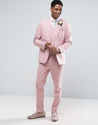 ASOS Wedding Skinny Suit In Dusky Pink