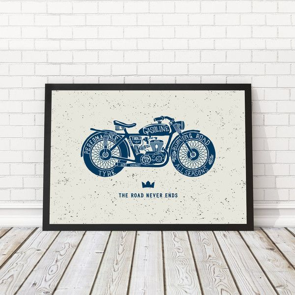 Motorfiets moderne poster, Vintage fiets poster, kunst aan de muur... (170.815 VND) ❤ liked on Polyvore featuring home, home decor, wall art, printable wall art and printable posters