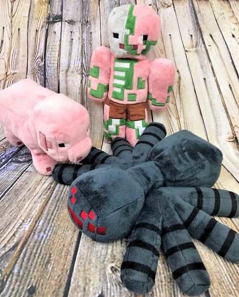 Mojang Minecraft Plush Lot of 3 Black Spider Pig Zombie Pigman Licensed Toys EUC #Mojang