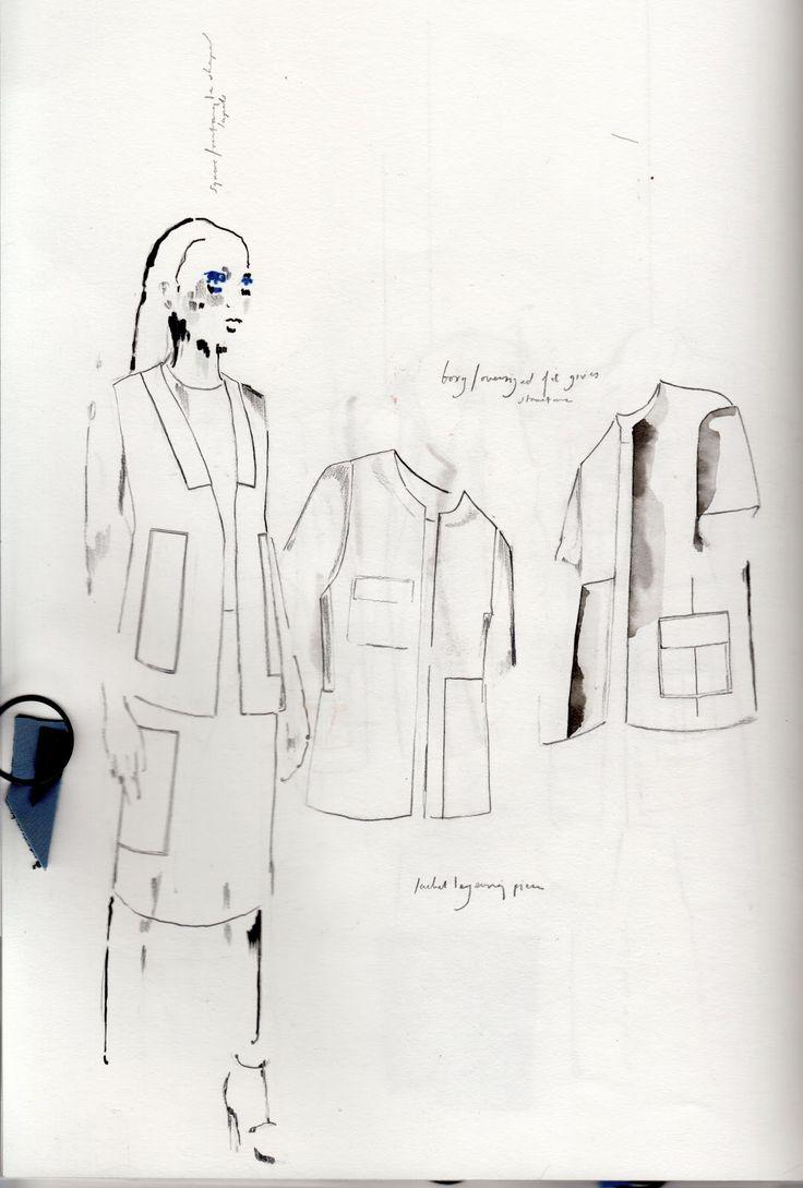 Fashion Sketchbook - fashion design sketches for tailoring inspired by architecture & shadows; fashion portfolio // Alexandra Baldwin