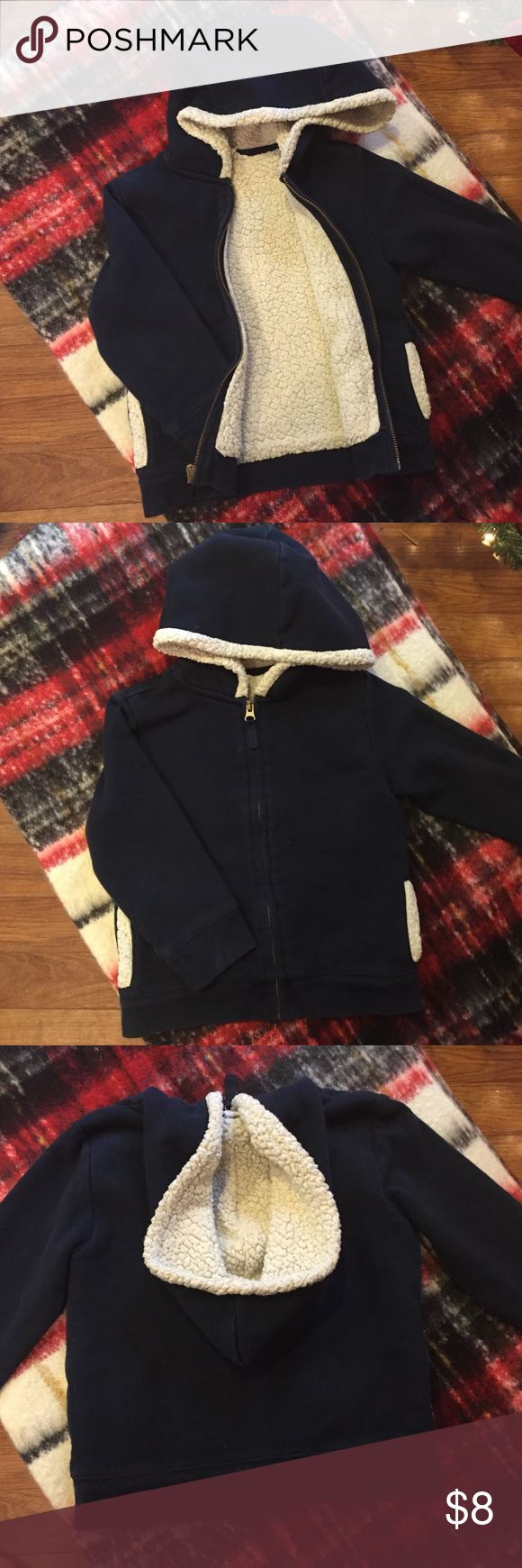 Lands end girls navy Sherpa lined hoodie small 4 Very nice lands end kids Sherpa lined hoodie for girls.  Navy with cream lining.  Gently used normal wash wear. No holes or stains.  Size small 4. Lands' End Shirts & Tops Sweatshirts & Hoodies