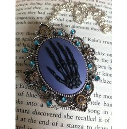 Steampunk Skeletal Hand Cameo Necklace