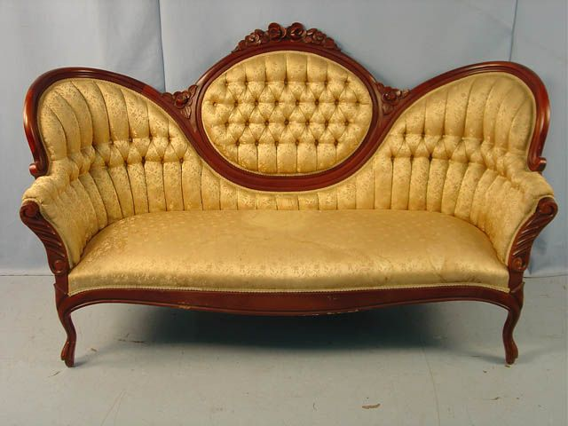 1519 Victorian Mahogany Rose Carved Medallion Back Sofa