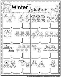 January Kindergarten Math worksheets - Winter addition