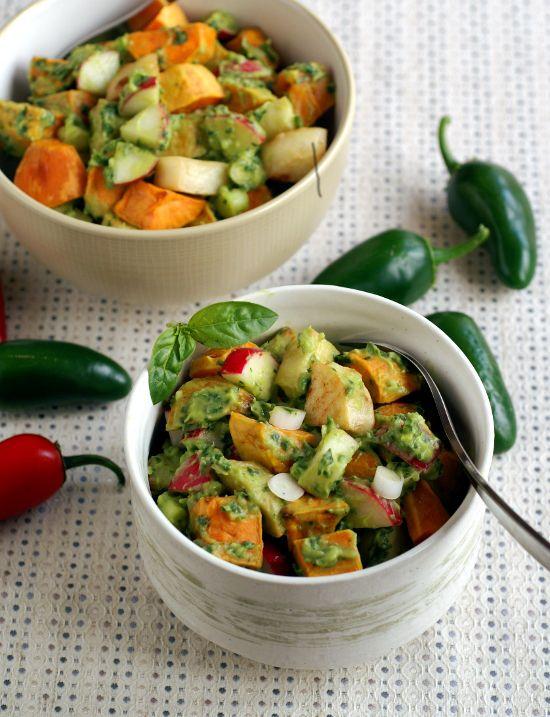 Roasted Potato Salad with Avocado Pesto