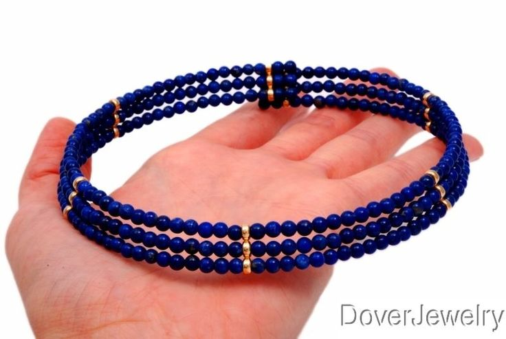 Modern Lapis Lazuli 14K Gold Choker Necklace 30.8 Grams NR