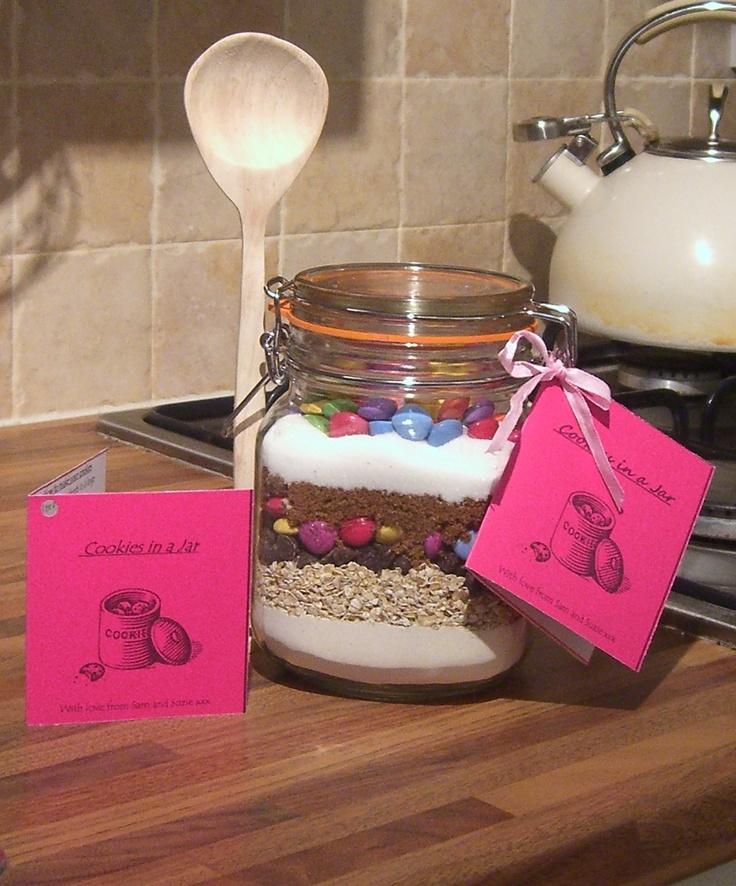 Cookies in a jar. Sweet gift idea:)