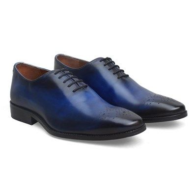Buy Blue Leather Hand Burnished #FormalShoes By Brune Online at Best Price @ #voganow