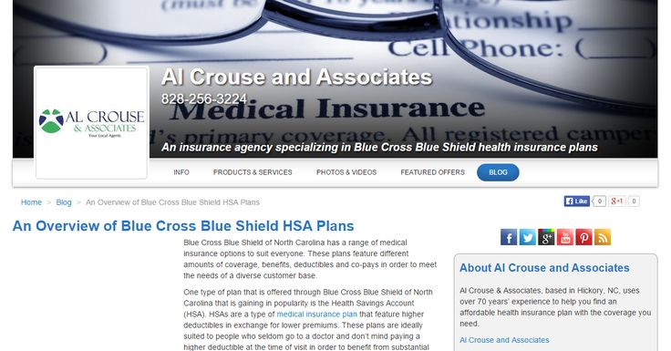An Overview of Blue Cross Blue Shield HSA Plans; blog post for Al Crouse and Associates (USA) Need similar (or other copywriting/web content) work done? Contact me - darrell@wordtiffie.co.za #wordtiffie