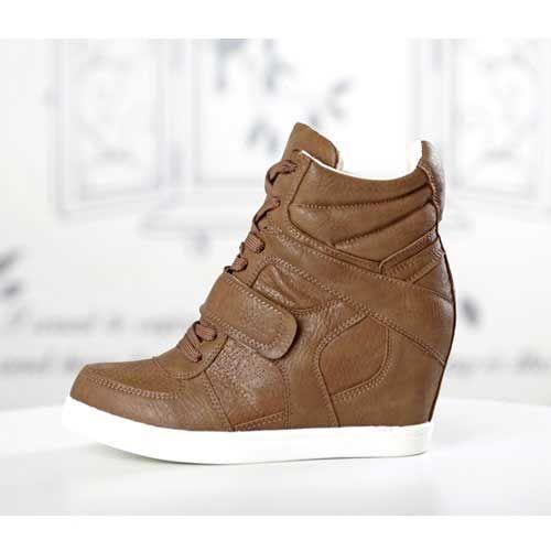 basket femme montante compense cuir uni marron high top sneakers fashion mode 2012 2013 ref27.jpg