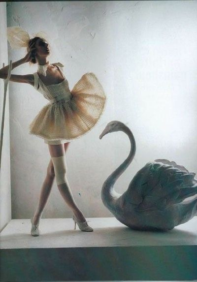 Tim Walker - ballet with high heels and swan. #fashion #fantasy #editorial