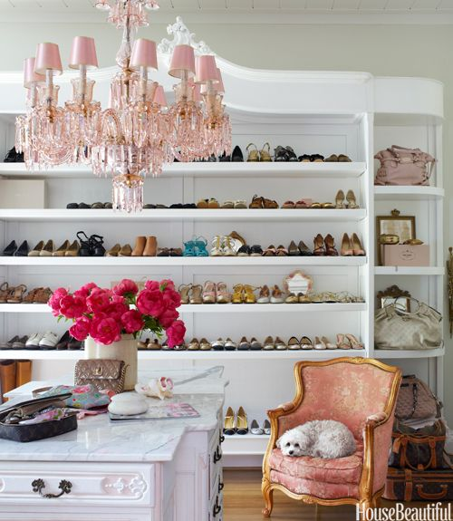justbesplendid:: Dreams Houses, Dreams Closet, Shoes Shelves, Interiors Design, Pink Chandeliers, Shoecloset, Shoes Storage, Dresses Rooms, Shoes Closet