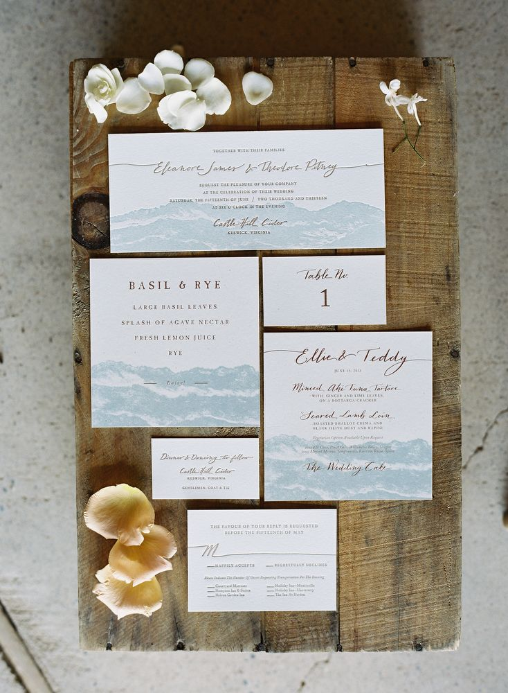 @Derek Smith paper scissors brought the beautiful Virginia Blue Ridge Mountains onto the page for this paper suite - photo by @Eric Lee Kelley