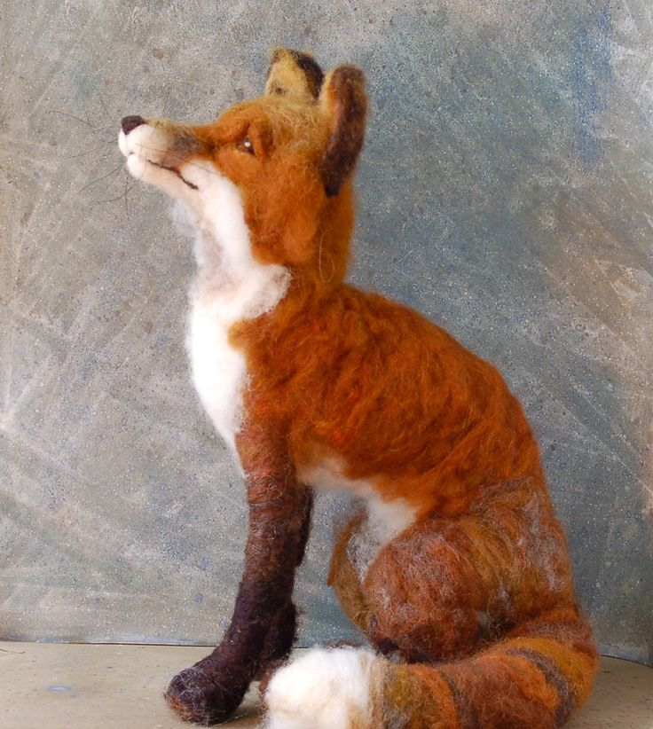 Needle Felted Fox by SarafinaFiberArt. $325.00, via Etsy.