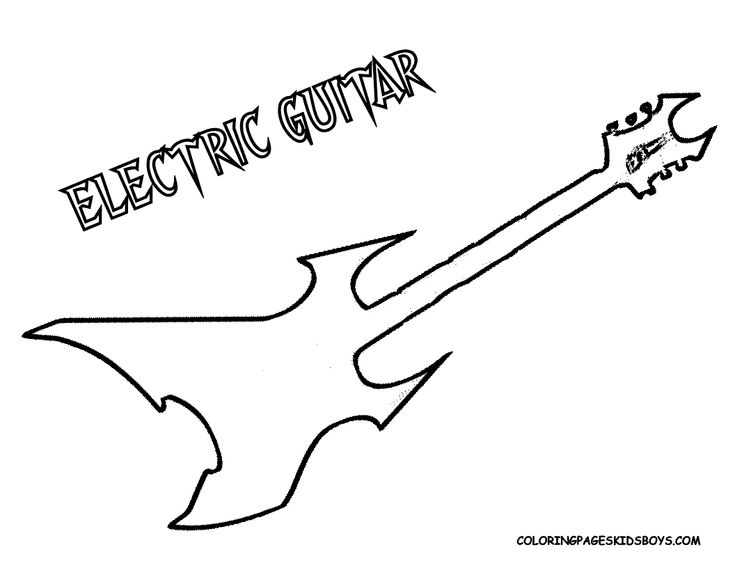 guitar outline colouring pages page