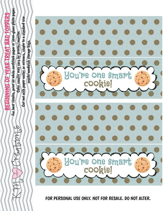 Teacher baggie top, One Smart Cookie, printable DIGITAL FILE