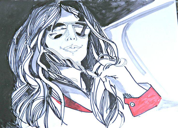 Monica  ritratto su cartoncino