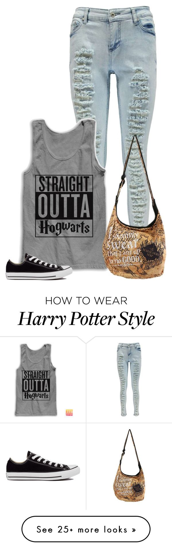 """Harry Potter"" by exocoffeelover on Polyvore featuring Boohoo and Converse"