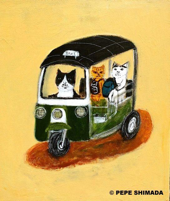 "Pepe Shimada - ""Bangkok TUKTUK Cat"" F10 53cmx45.5cm Acrylic on canvas."