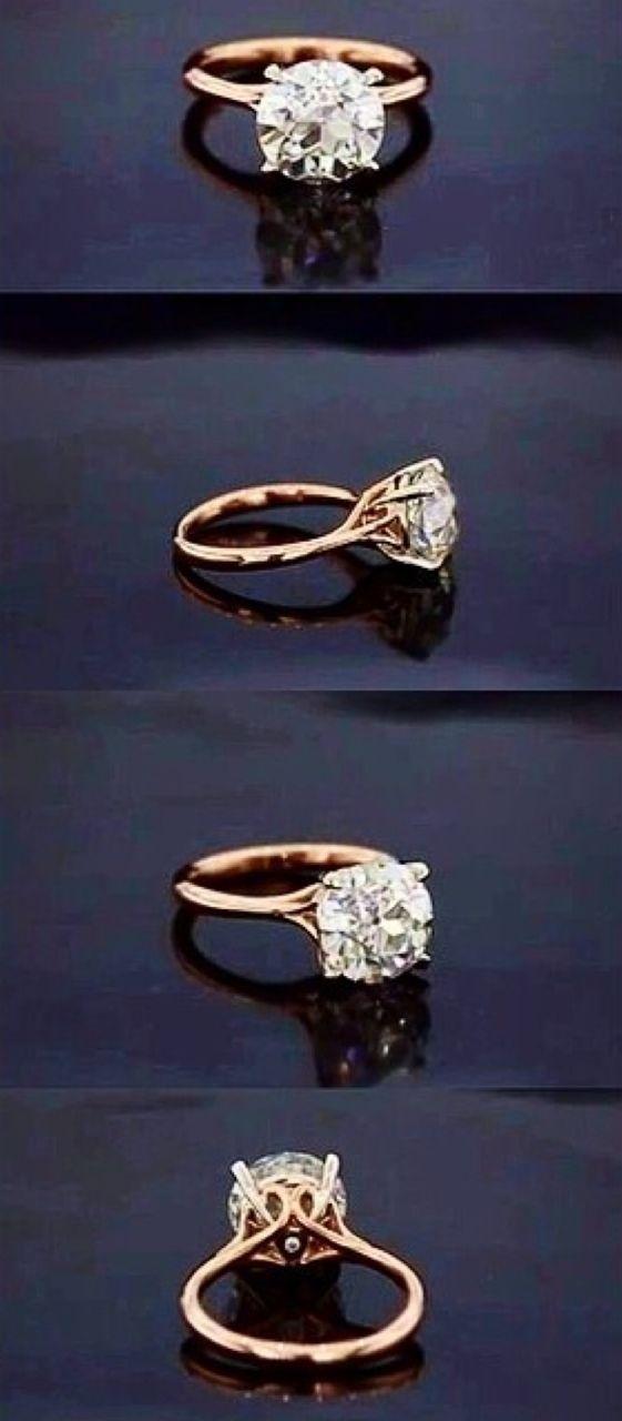 Yellow gold round diamond engagement ring