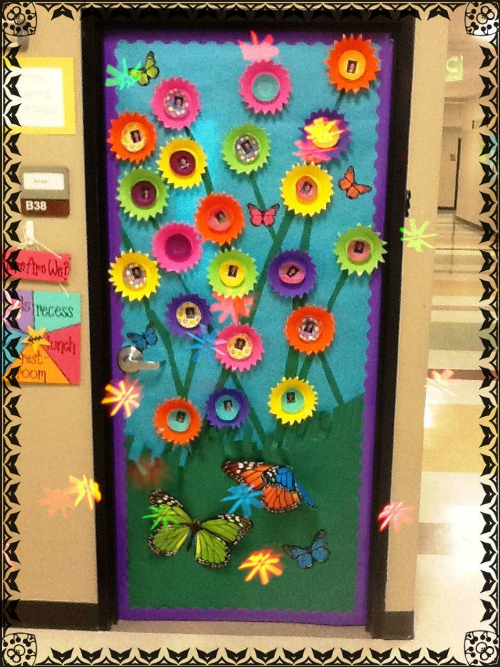 3 d flower door decoration idea spring summer flower for Decoration theme jardin