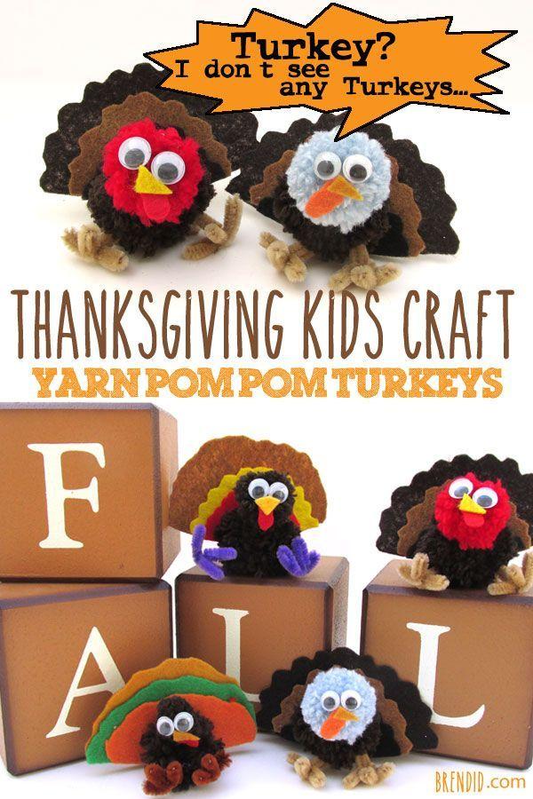 Thanksgiving Kid Crafts Pom Pom Truthähne