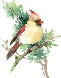 Cardinal bird artwork, original watercolor painting, olive green wall art, scarlet red green painting