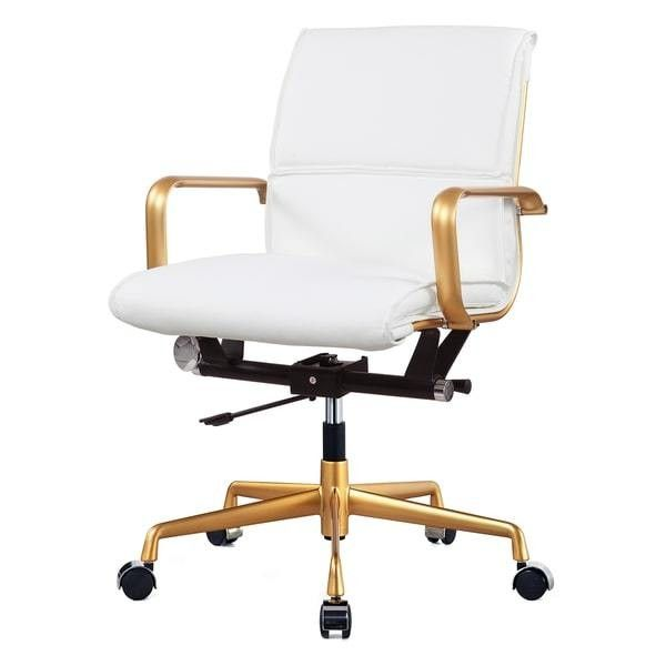 Gold and White Vegan Leather Office Chair Free Shipping Today ❤ liked on Polyvore featuring home, furniture, chairs, office chairs, leatherette chair, fake leather furniture, fake leather chair, white and gold office chair and faux leather office chair