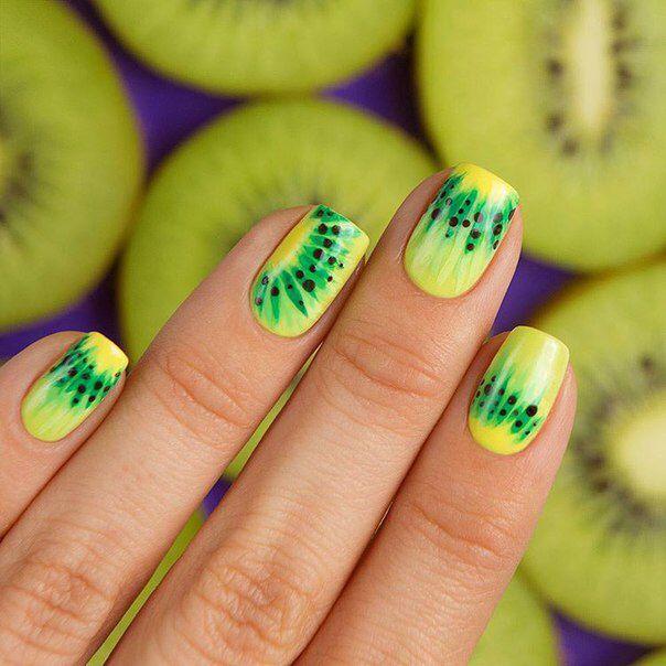 Дизайн киви на ногтях