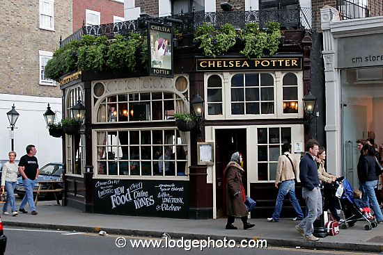 The Chelsea Potter - a traditional British pub on the Kings Road, London, UK.