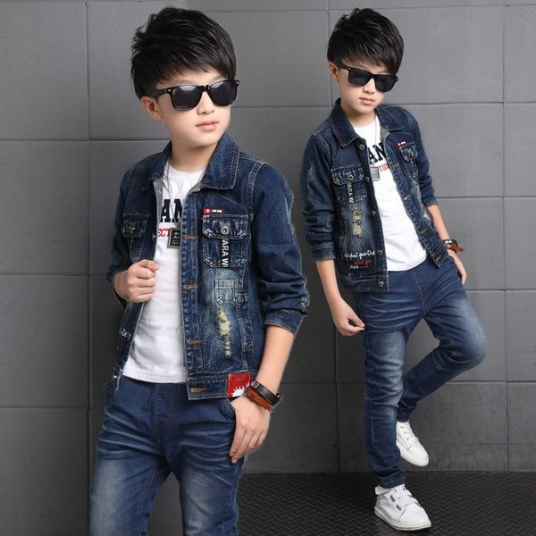 Children 39 S Wear Boy Autumn Outfit 6 New 2019 Middle School Children 7 Long Sleeves 9 Children 11 Boys Fall Outfits Childrens Clothes Boys Boys Denim Jacket