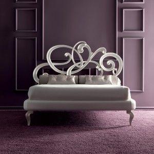 Designer White Leather Bed