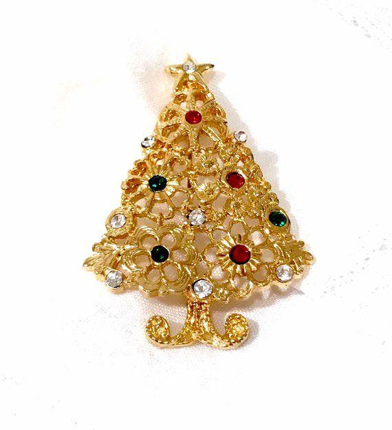 CHRISTMAS TREE Pin Open Back Rhinestones Festive