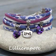 Bracelet cordon liberty 2 tours coeurs swarovski bleu violet blanc et argenté