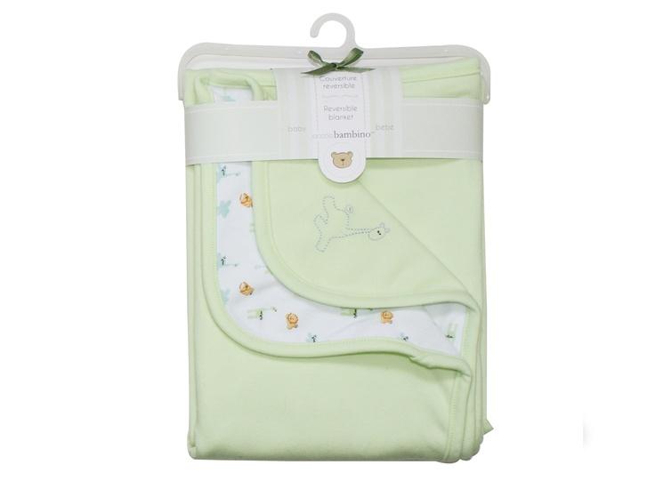 Babyfilt vändbar bomull Piccolo, ljusgrön - Bonti