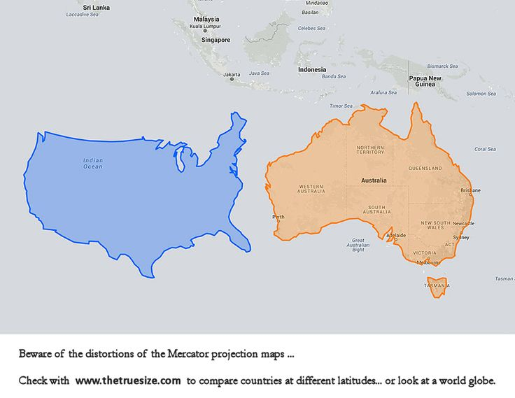 17 best maps compare sizes images on pinterest cards maps and simile us vs australia beware of the distortions in the mercator projections maps compare gumiabroncs Image collections