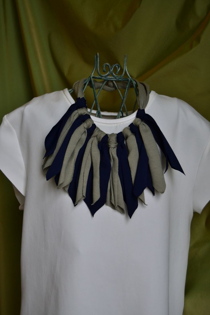 handmade necklaces (blue and sage green jersey)