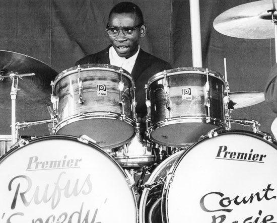 "Rufus ""Speedy"" Jones behind his double-bass Premier kit"