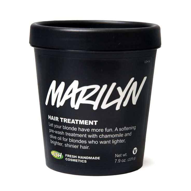 Lush: Marilyn Marilyn is for blonds who would like to stay blond and become even blonder, in a gentle, shiny, and natural way. We make it by hand with softening linseed gel which is full of protein, vitamins and minerals to hydrate and strengthen hair. We use chamomile for lightness and to calm your scalp, saffron for golden color and lemon for shine. Marilyn moisturizes damaged hair and brings out natural blond tones with regular use, making hair look more vibrant.
