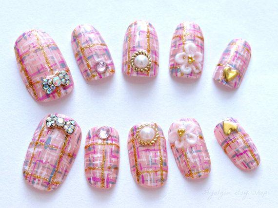 Acrylic nails tweed pastel bows pearl pink Japanese by Aya1gou, $21.00