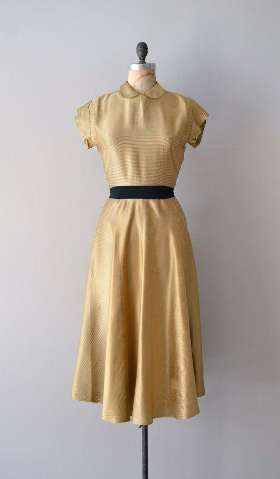 1950s gold silk satin dress