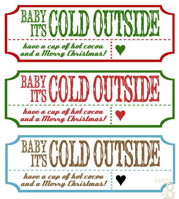 Capital B: Neighbor Gifts, free printable tags for hot chocolate gift
