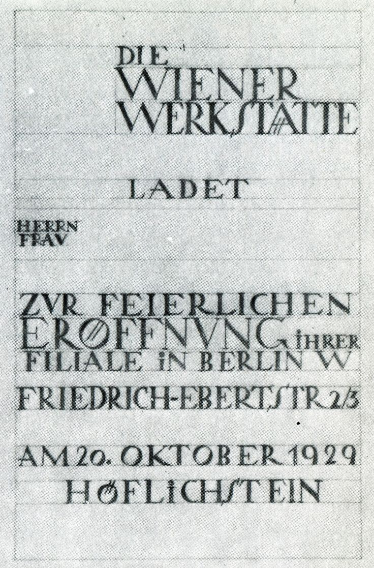 Type sketches for Wiener Werkstätte, 1903-1932. From Wiener Werkstatte: Design in Vienna 1903-1932 by Christian Brandstaetter
