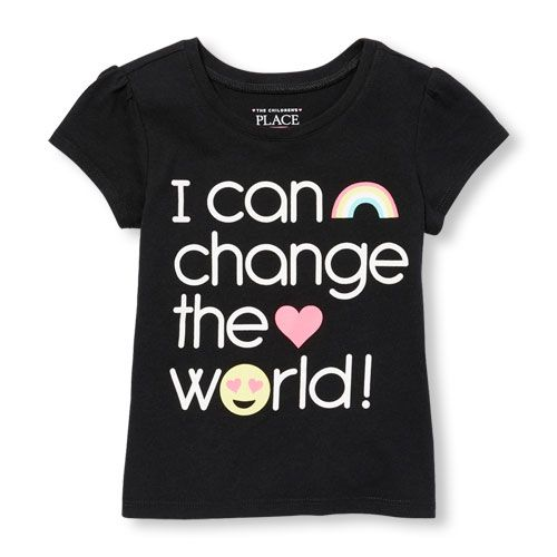 Image for Toddler Girls Short Sleeve 'I Can Change The World' Emoji Graphic Tee from The Children's Place